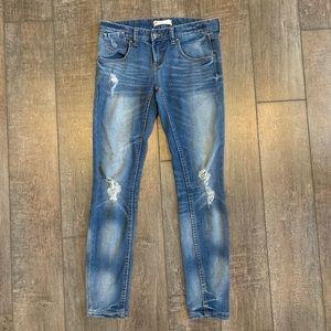 Free People Distressed Skinny Ankle Jeans